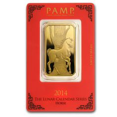 Investors that choose this 1 oz Gold bar featuring the Year of the Horse can buy Gold bars with confidence because PAMP Suisse is known for its high quality craftsmanship. Browse the Gold bars available at APMEX and take advantage of lower premiums. Fake Money Printable, Gold Bars For Sale, Coin Dealers, Year Of The Horse, Gold Money, Gold Bullion, Half Dollar, Gold Price, Silver Bars