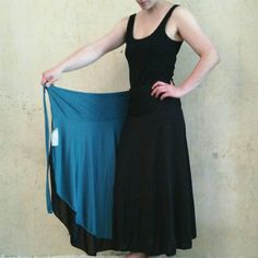 Long Wrap Skirt Jersey Reversible Skirt Petrol & Black by Coisas4u