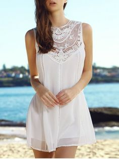 Fashion Round Collar Lace Splicing Chiffon Sleeveless Dress For Women