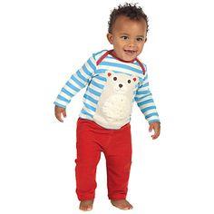 Buy Frugi Baby Bobby Polar Bear Top, Blue/White Online at johnlewis.com