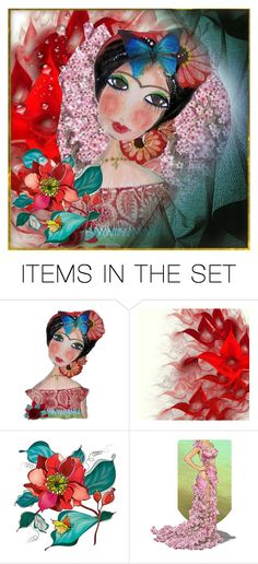 """Girl & Flowers"" by lubime ❤ liked on Polyvore featuring art"