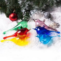 Set of 6 Hand Blown Glass Birds -  Christmas Tree Ornament, Suncatcher, Window Decoration, Xmas Gift, Xmas ornament, New year decor on Etsy, $29.40