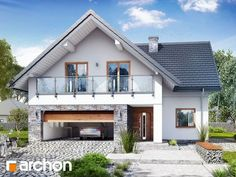 Dom w montbrecjach (G2) Modern Bungalow Exterior, Modern Bungalow House, Bungalow House Plans, House Structure Design, House Front Design, Minimal House Design, Bungalow Renovation, Home Exterior Makeover, Contemporary House Plans