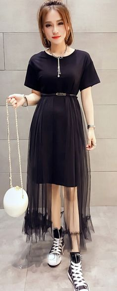 """Buy """"Black midi dress with long mesh skirt"""" with Free Worldwide Shipping at  Korean. Browse and shop for hundreds of Asian fashion items from Korea and  more! 81dac3f63151"""