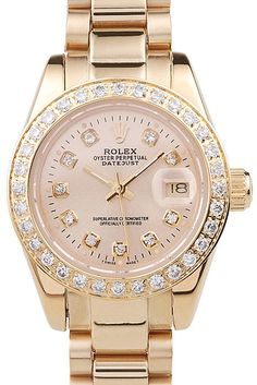 Rolex Datejust 18k Yellow Gold Plated Stainless Steel Diamond Plated 98077