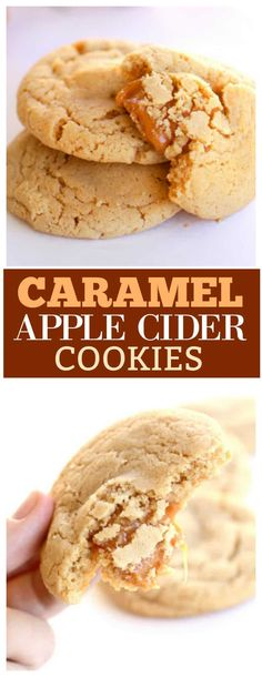 These Caramel Apple Cider Cookies are soft and chewy and taste like fall. #cookies the-girl-who-ate-...