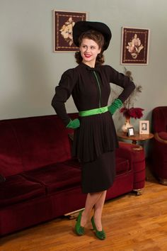 Vintage 1940s Dress Killer Black Rayon Dress with by FabGabs