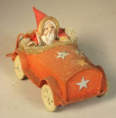 Vintage Santa Claus Collectible ~ Early Santa Claus in Car Celluloid Candy Container