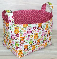 Fabric Basket Storage Bin Whimsical Owls by thespottedbarn