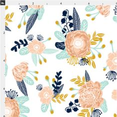 Peach and Navy Floral Baby Bedding Crib Bedding Navy Mint