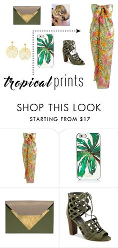 """""""Tropical Prints"""" by freckled-gypsy ❤ liked on Polyvore featuring Kate Spade, Dareen Hakim, G by Guess, Arme De L'Amour, tropicalprints and hottropics"""