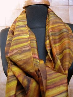 Hand painted Brown Striped Silk Scarf Accessory by SideEffectsNY, $55.00