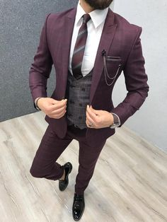 Product: Slim-Fit Vest Suit Color Code: Plaid Claret Red Size: Suit Material: wool, poly Machine Washable: No Fitting: Slim-fit Package Include: Coat, Vest and Pants Only Plaid Suit, Wool Suit, Red Plaid, Suit Vest, Red Suit Jacket Mens, Red Tuxedo, Tuxedo Suit, Mens Fashion Suits, Mens Suits