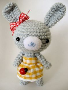 Amigurumi bunny.  I love her little dress