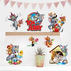 Removable 3d Tom And Jerry Wall Stickers Self Adhesive Kids Cartoon Wall  Decals For Baby Part 49
