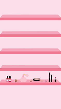 Beauty Make-Up iPhone Wallpaper Shelves
