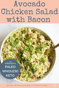 "Avocado Chicken Salad with Bacon is a twist on the classic chicken salad recipe made with ripe avocados, bacon, pumpkin seeds, and red onion. Such a delicious packable meal, and one that is perfect during warmer weather. Paleo and Whole30 approved! Chicken salad continues to be that one ""go-to"" dish that is on repeat ."