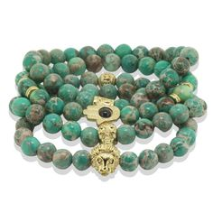 Lion Bracelet Natural Green Sea Sediment Stone Bead with Bronze Gold Skull // Price: $11.40 & FREE Shipping Worldwide //     #skirt #clothes #fashionable #style #styles #musthave #accessories #jewelry #shoes #lips #lipstick #fitness