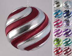 A classic swirly ornament available in a variety of beautiful colors, paired with shiny metallic silver foil lamé fabric. 3 inch diameter satin and silver lamé fabric silver metallic accents available in 12 colors Quilted Christmas Ornaments, Fabric Ornaments, Ball Ornaments, Christmas Balls, Christmas Tree Decorations, Christmas Diy, Holiday Decor, Lame Fabric, Egg Decorating