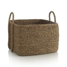 Tyler Square Basket with Rope Handle ::: Handmade in Indonesia. Large size. Lorr