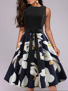 Round Neck Floral Printed Skater Dress – streetstyletrends styles skirts skirt and top outfits skirt shoes winter skirt outfits Floral Skater Dress, Skater Dresses, Cheap Dresses Online, Dress Silhouette, Two Piece Dress, Collar Dress, Buy Dress, Dress Brands, Cute Dresses