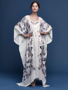 MENG Butterfly Lovers Printed silk georgette V neck wrap, white purple, $1116, Front View