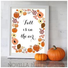 Fall Printable art decoration halloween leaves art by NovellaBleu, $5.00