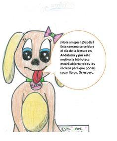 La mascota de la biblioteca del CEIP S. Andrés de Algarinejo anuncia las actividades del día de Andalucía.