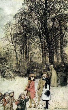 ✽   arthur rackham  -  'children in the park'  from 'the book of pictures'   -   1910