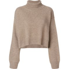Rejina Pyo oversized turtleneck jumper (10.560 ARS) ❤ liked on Polyvore featuring tops, sweaters, brown turtleneck, brown sweater, brown cashmere sweater, over sized sweaters and pure cashmere sweaters