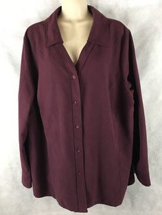 Womens Sonoma Life & Style Maroon Faux Suede Long Sleeve Button Shirt 2X #Sonoma #ButtonDownShirt #Casual