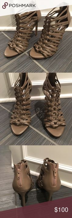 """TAUPE LEATHER STRAPPY HEELS NEW DUNE LONDON SIZE 8 SUPER CUTE ! JUST BOUGHT FOR MY HONEYMOON TO WEAR IN ST.THOMAS AND DIDNT WEAR :( I have so many heels ! I need to get rid ! I know I'm CRAZY !        LEATHER 👠ZIP BACK 👠4"""" heel 👠 PRICE FIRM UNLESS BUNDLED . NO OFFERS ON BUNDLES PLEASE . THEY WILL COME IN A BOX . BOUGHT AT NORDSTROM Nordstrom Shoes Heels"""