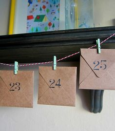 christmas countdown...envelopes, twine, and mini clothespins