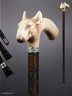 Walking stick bull Terrier - for the man with the iron fist Walking Sticks And Canes, Wooden Walking Sticks, Walking Canes, Cannes, Meerschaum Pipe, Cane Handles, Wooden Canes, Walk This Way, Bone Carving