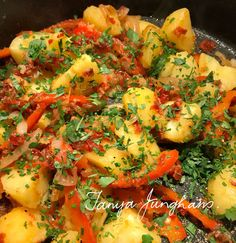 Tanya's Food Experience: Potatoes with Sautéed Peppers and Shallots.