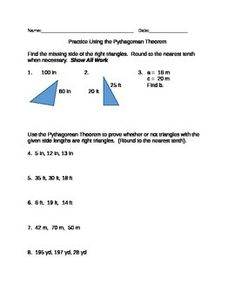 practice using the pythagorean theorem with these geometry worksheets the o 39 jays pythagorean. Black Bedroom Furniture Sets. Home Design Ideas