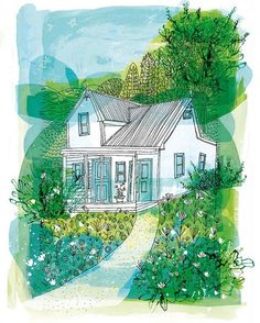 WEBSTA @ sweetwilliamprints - 'Happiness of Home' archival art print available through etsy (link in bio). Home is not a place, it's a feeling. This is an illustration of my sister's home, which sits on top of a big hill in New Zealand, surrounded by greenery. @shellsgardner