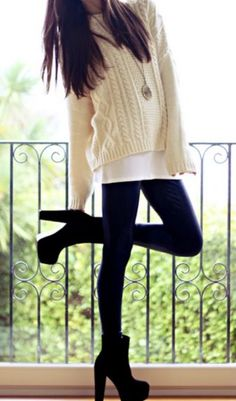 "long tee & cable knit sweater over black tights clunky high heeled shoes - ""When you wear clunky shoes the rest of you looks cuter by comparison."" - the Fashion Club, Daria"