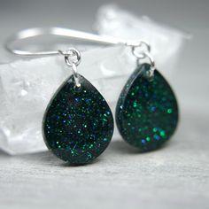poison green sparkly teardrop earrings on sterling silver
