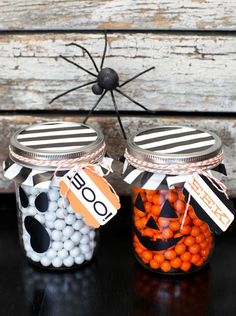 yummy filled jars...Spooktacular School Crafts and Treats Inspiration Board by Bella Bella Studios~Halloween jar ideas via HGTV. #hgtv #candy #Halloween #spider #spooky #boo