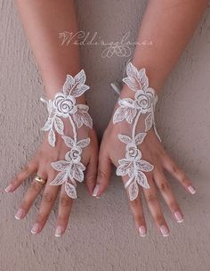 Unique Wedding Gloves, Wedding, Bridal Gloves, Fingerless Gloves, Ivory, Wedding accessories 3D floral vedding gloves