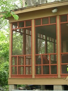 craftsman style screened porch on the back of a bungalow provides a great place to get cool on a hot summer night. Craftsman Porch, Craftsman Exterior, Craftsman Style Homes, Craftsman Bungalows, Craftsman Farmhouse, Bungalow Homes, Screened Porch Designs, Screened In Porch, Porch Tent