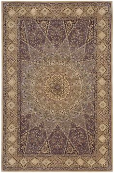 Hand Made Nourison 2000 Lavender Traditional Silk Rug