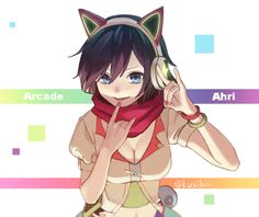 1girl AHRI alternate_costume animal_ears arcade_ahri pechos pulsera de escisión…