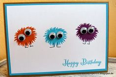 I may have a little fuzzball stamp like this one from Stampin' Up - love the google eyes. This card could use some sort of grounding for the mini monsters to stand on.
