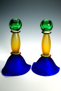 "stephan cox art | in Blue and Yellow"" art glass candleholders created by Stephan Cox ..."