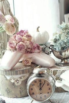 Shabby Chic Decoration, old ballet shoes, peony, and old clock