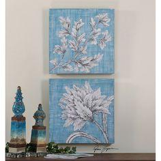 Uttermost Teal Florals Art Set of 2 34286