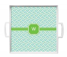 Personalized Square Tray - White Pool Wave