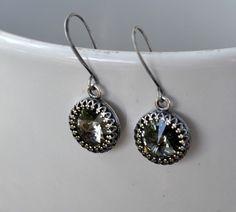 Black Diamond Swarovski Earrings Smoke Grey Bridemaids Bridal Retro Wedding Earrings,Antique Victorian Style Silver Bezel Setting. by JewelrybyXinyiMartin on Etsy